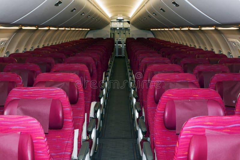 Platser för ekonomiklass för Qatar Airways flygbuss A320 arkivbilder