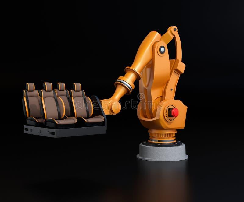 Platser för medel för orange arm för tungvikt robotic bärande för enhet royaltyfri illustrationer
