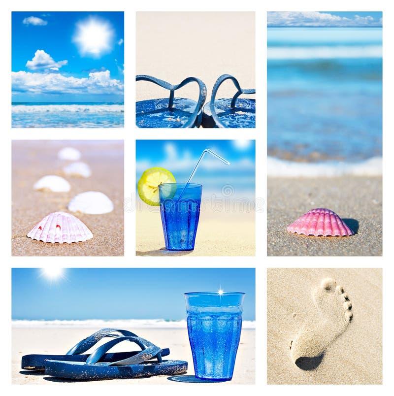 platser för strandcollageferie royaltyfria foton