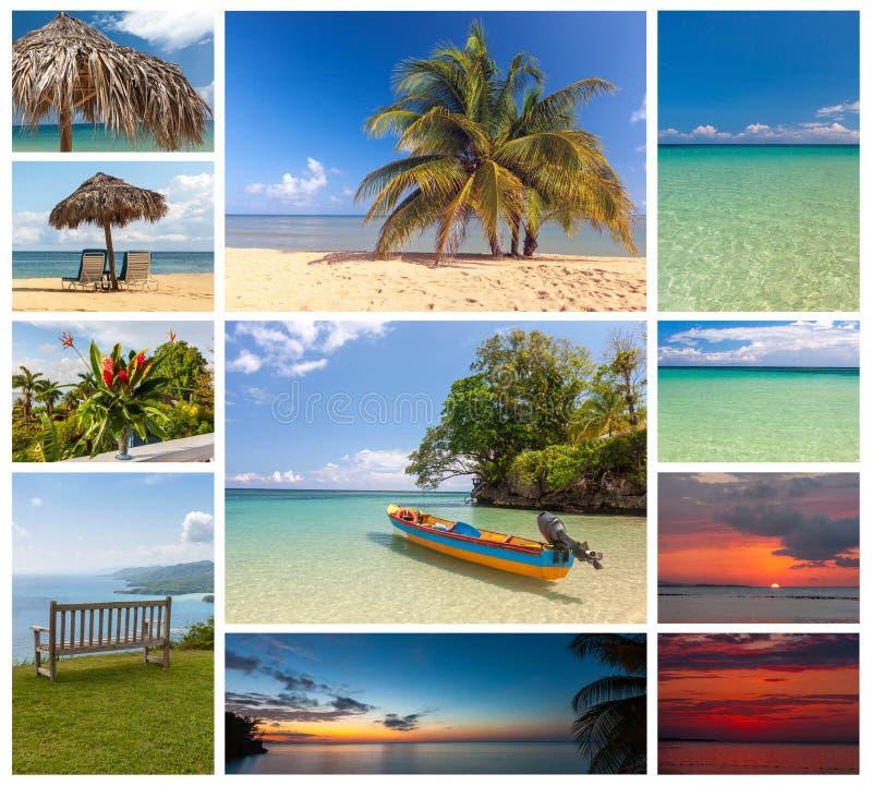platser för strandcollageferie royaltyfria bilder