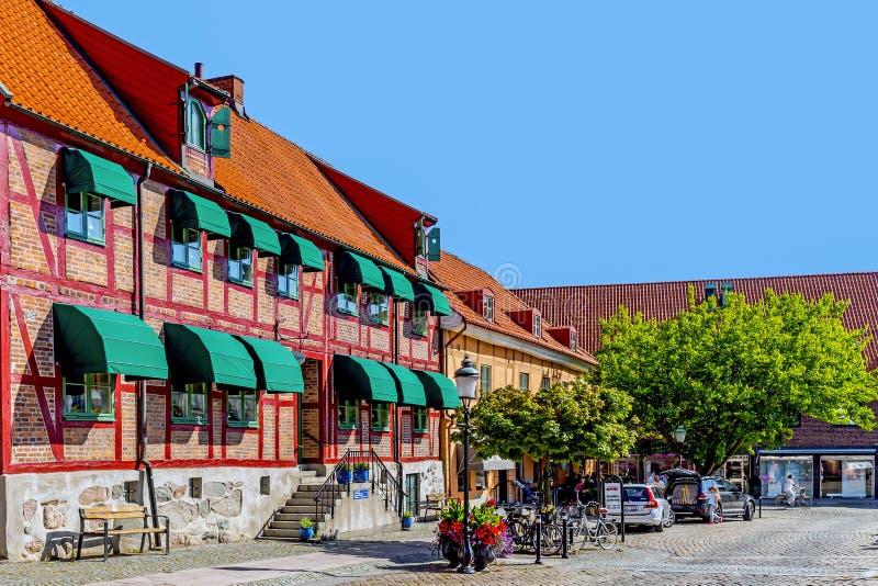 Platser från den huvudsakliga marknaden (Stortorget) royaltyfria bilder