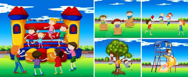 Platser med barn i lekplatsen stock illustrationer