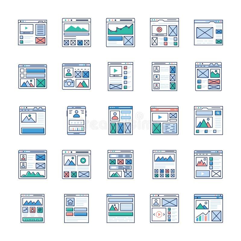 Platsflöde, trådramen, plana symboler för UI-satser packar vektor illustrationer