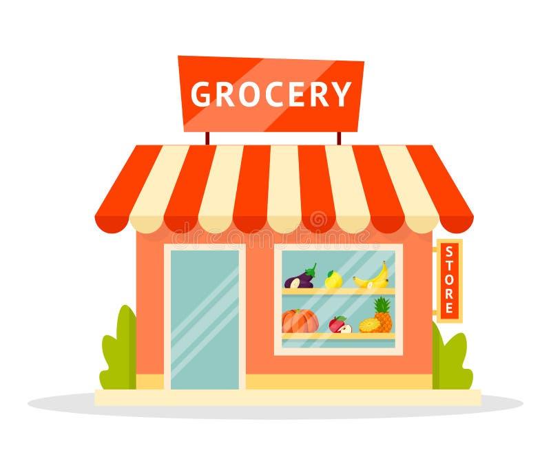 Platt illustration av Grocery-facade stock illustrationer