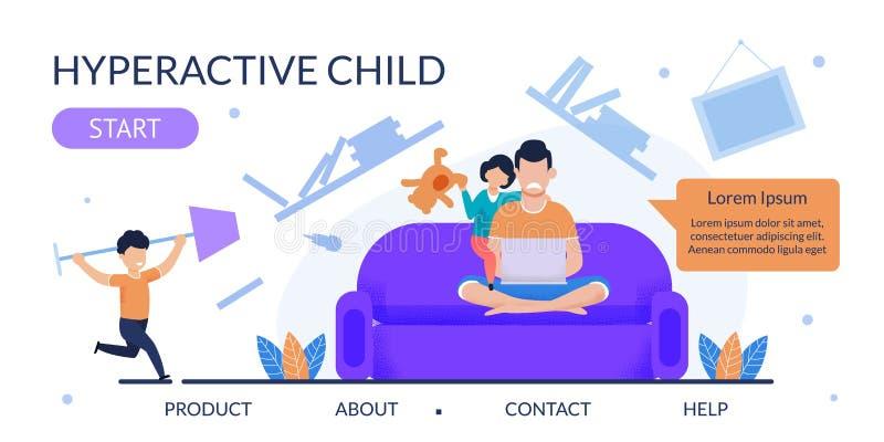 Platt landningssida för hjälp med hyperaktiva barn stock illustrationer