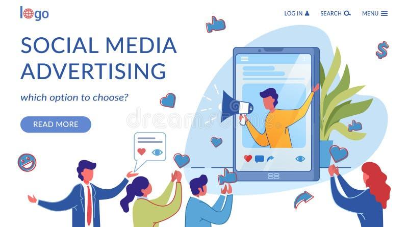 Platt mall för platt sida för social marknadsföring av media vektor illustrationer