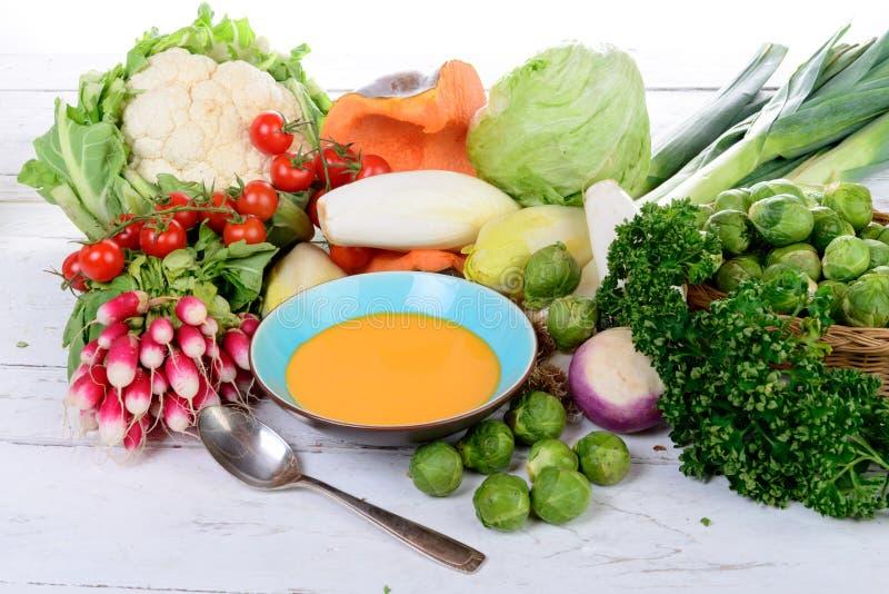 Platta av pumpasoppa med grönsaker fotografering för bildbyråer