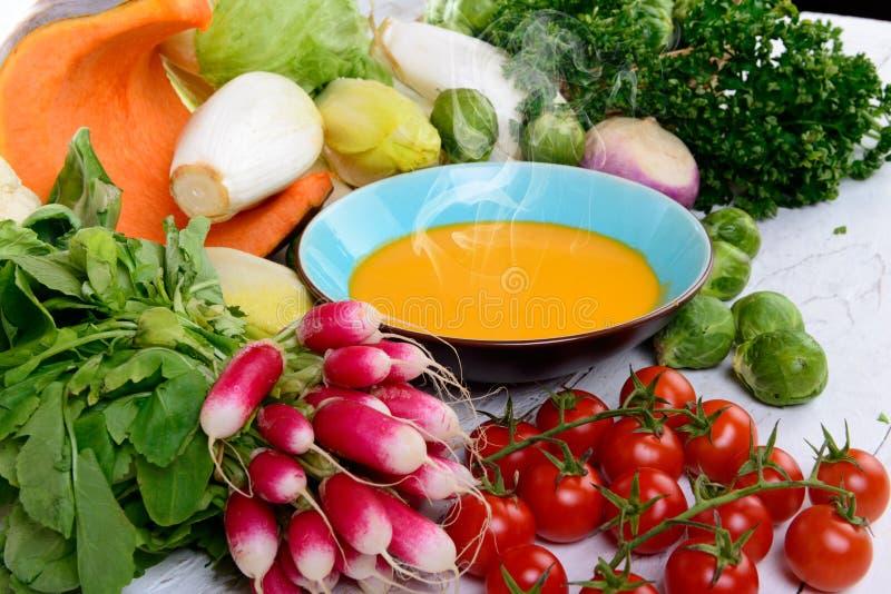 Platta av pumpasoppa med grönsaker royaltyfri fotografi