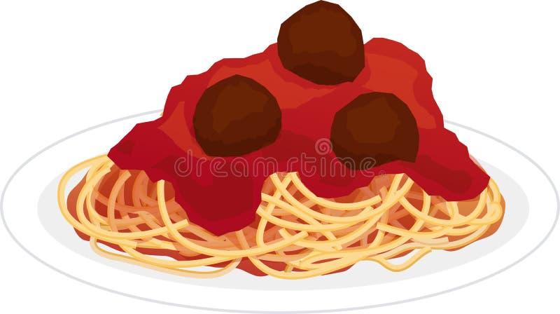 Platta av spagetti royaltyfri illustrationer
