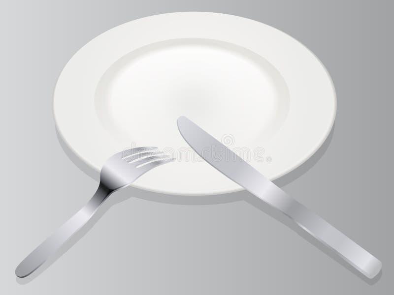Platta för illustration för vektor för ställeinställning 3D realistisk tom med kniven och gaffel som isoleras på grå bakgrund i i vektor illustrationer