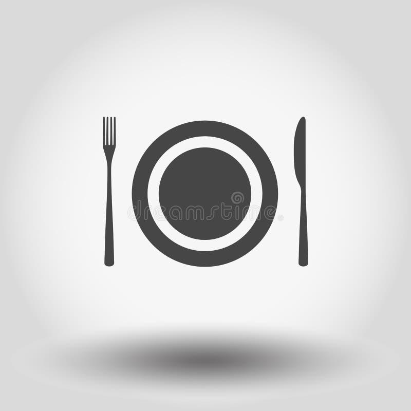 Platta, gaffel och kniv stock illustrationer