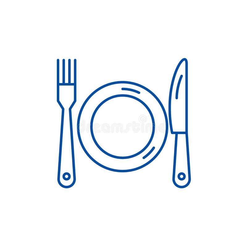 Platta-, gaffel- och knivlinje symbolsbegrepp Plant vektorsymbol för platta, för gaffel och för kniv, tecken, översiktsillustrati vektor illustrationer