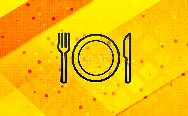 Platta med bakgrund för abstrakt digitalt baner för gaffel- och knivsymbol gul royaltyfri illustrationer