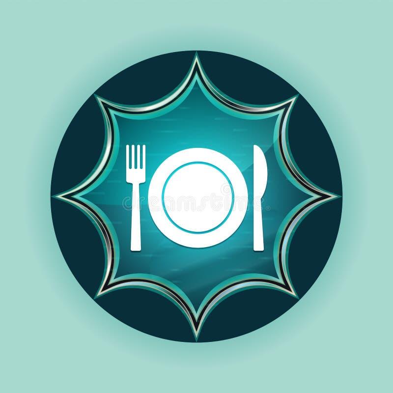 Platta med bakgrund för blått för himmel för knapp för gaffel- och knivsymbol magisk glas- sunburst blå royaltyfri illustrationer