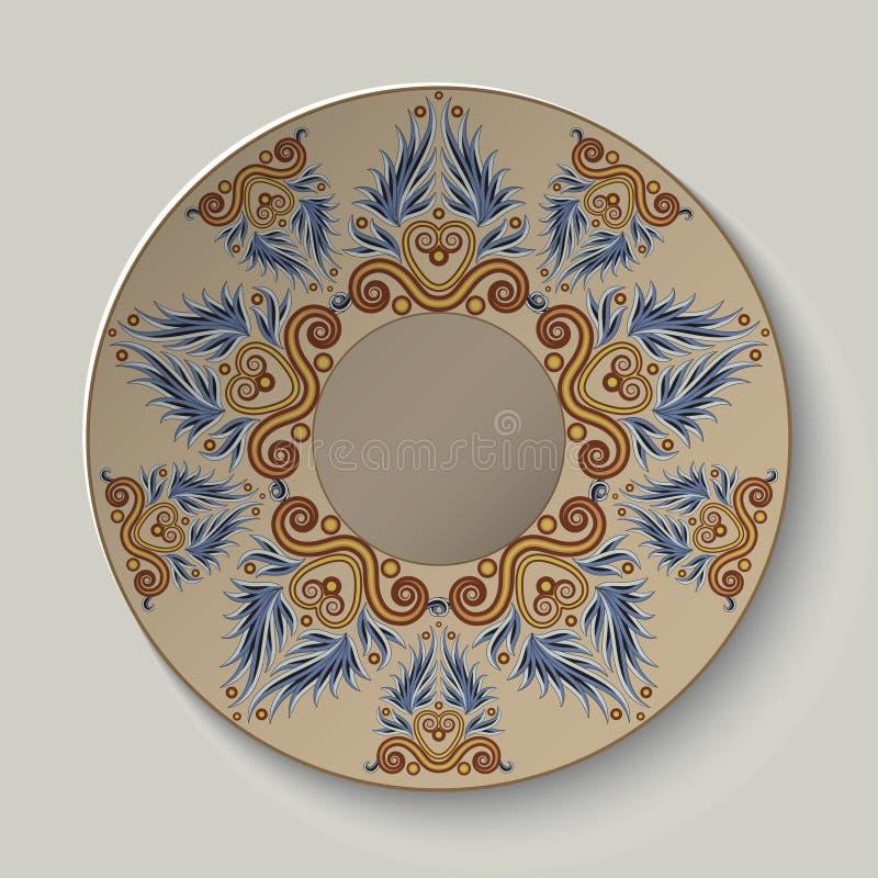 Platta med en prydnad i gammalgrekiskastilen stock illustrationer