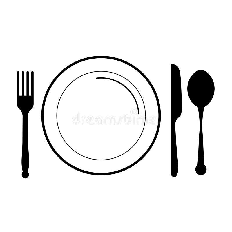 Platta med gaffeln, kniv, sked vektor illustrationer