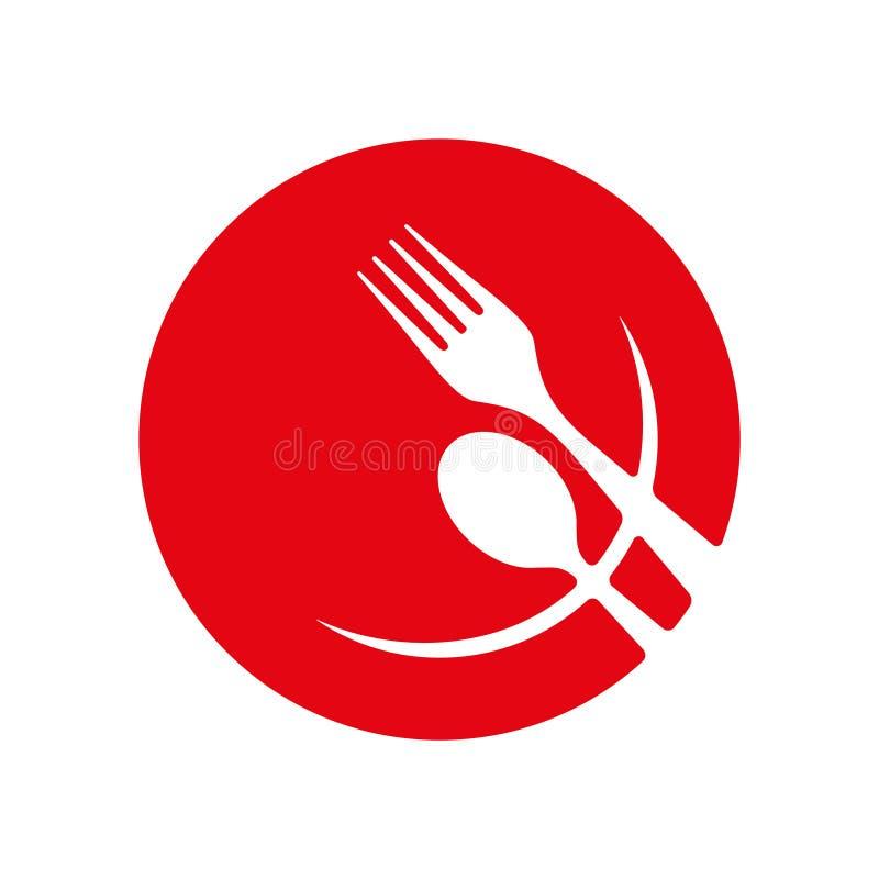Platta med sked- och gaffelvektorsymbolen royaltyfri illustrationer