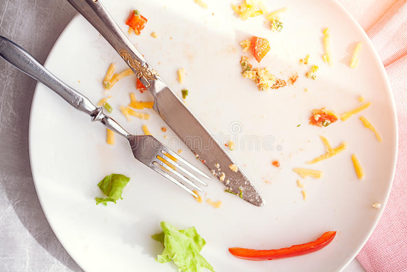 Platta med smulor mat och använd gaffel royaltyfri bild
