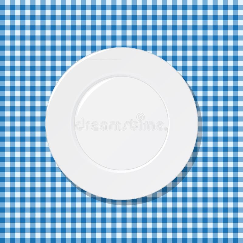 Platta på blå tablecloth stock illustrationer