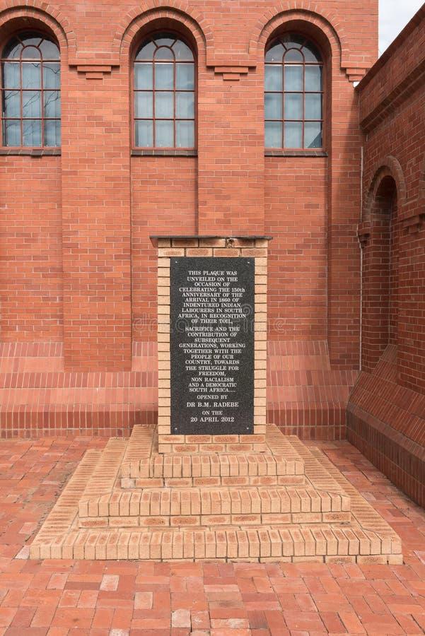 Platta på det Talana museet, fira minnet av som är arival av indisk jobbare royaltyfria bilder