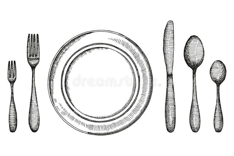 Plattaknivgaffeln och skeden och en platta skissar för tappningvektor för bestick fastställd illustration vektor illustrationer