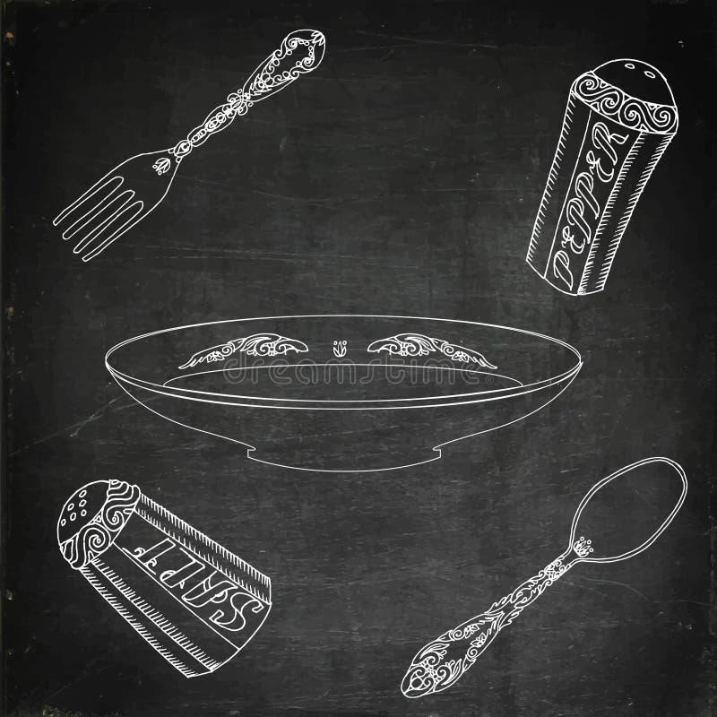Plattan med bestick, saltar och pepprar vektor illustrationer