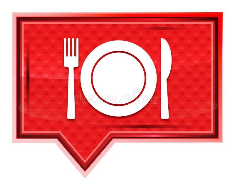 Plattan med den dimmiga gaffel- och knivsymbolen steg den rosa banerknappen royaltyfri illustrationer