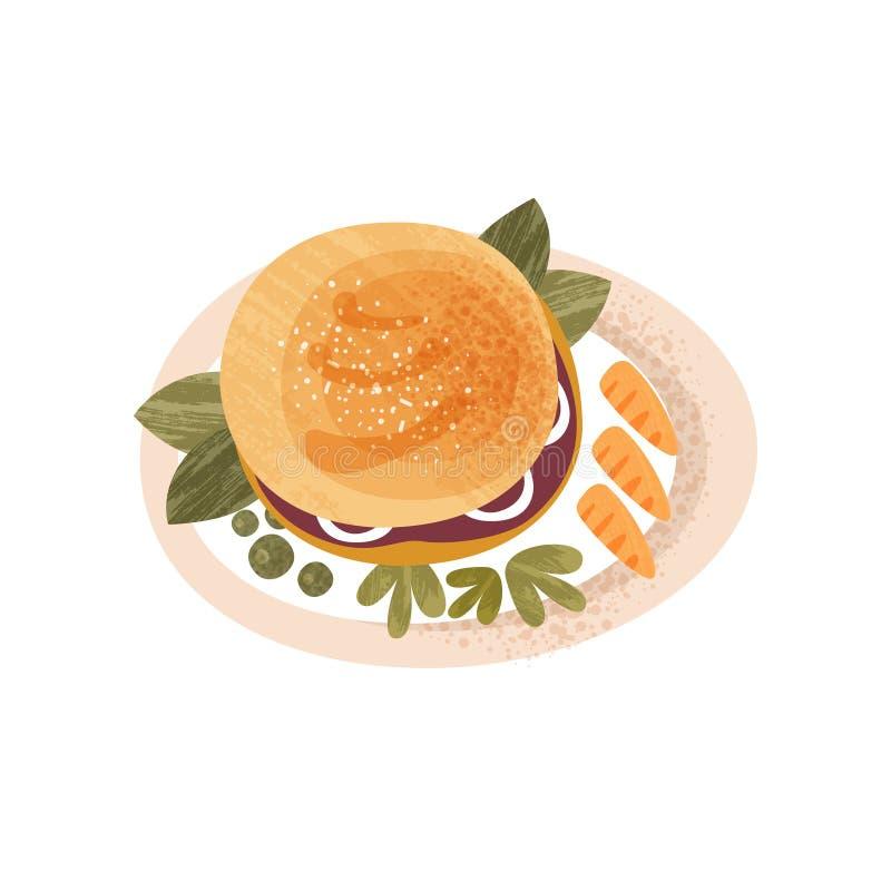 Plattan med den stora aptitretande hamburgaren dekorerade med gräsplaner och moroten Läcker mat för symbol för frukostlägenhetvek vektor illustrationer