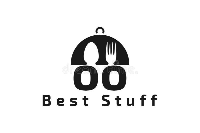 plattan skeden, gaffeln, logo för restaurang för bokstavsNOLLA-nolla planlägger inspiration som isoleras på vit bakgrund stock illustrationer