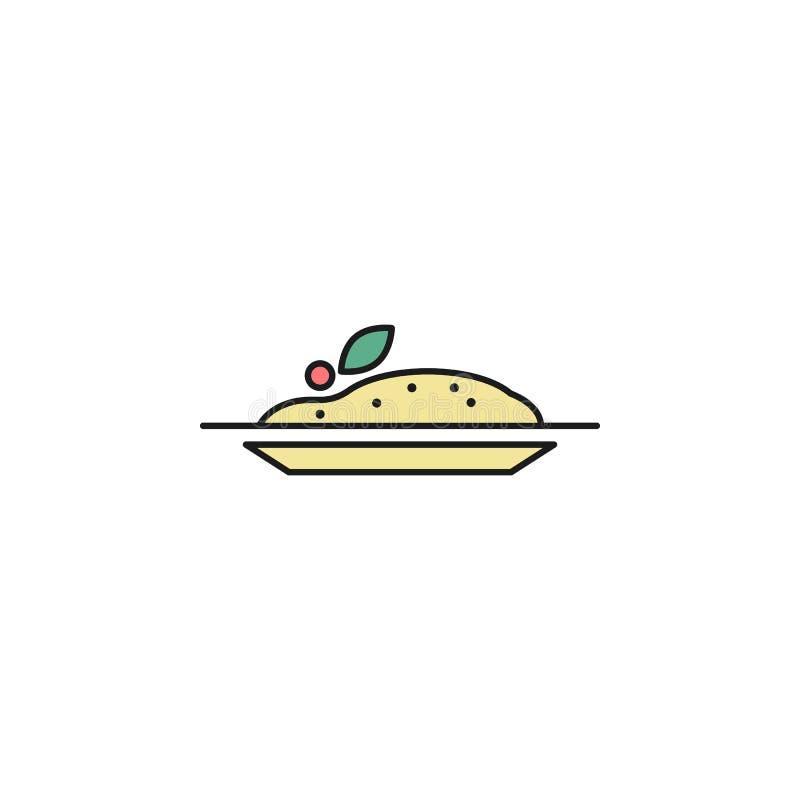 Platte der Kartoffelpürees farbigen Entwurfsikone Element der Lebensmittelikone für bewegliche Konzept und Netz apps Dünne Linie  stock abbildung