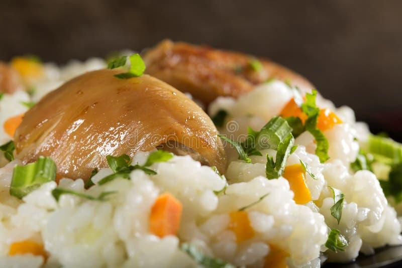 Platte des Reises mit gebratenem Huhn und Gemüse lizenzfreies stockbild