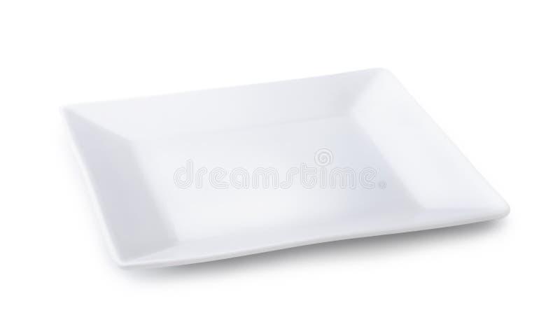 Platte des weißen Quadrats stockfotos