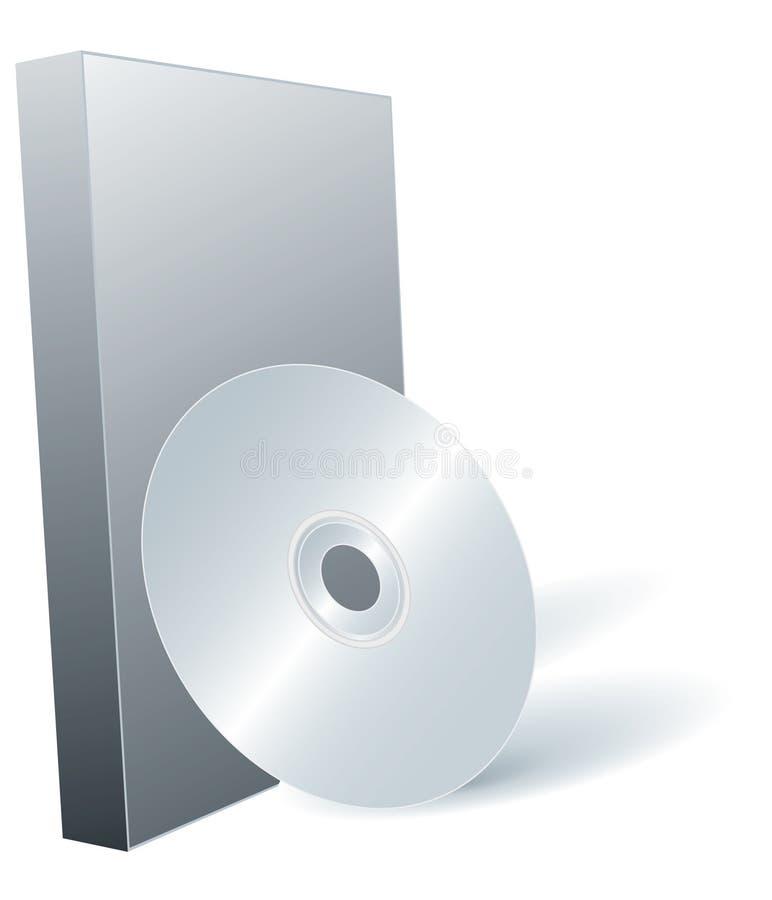 Platte DVD und Kasten. stock abbildung