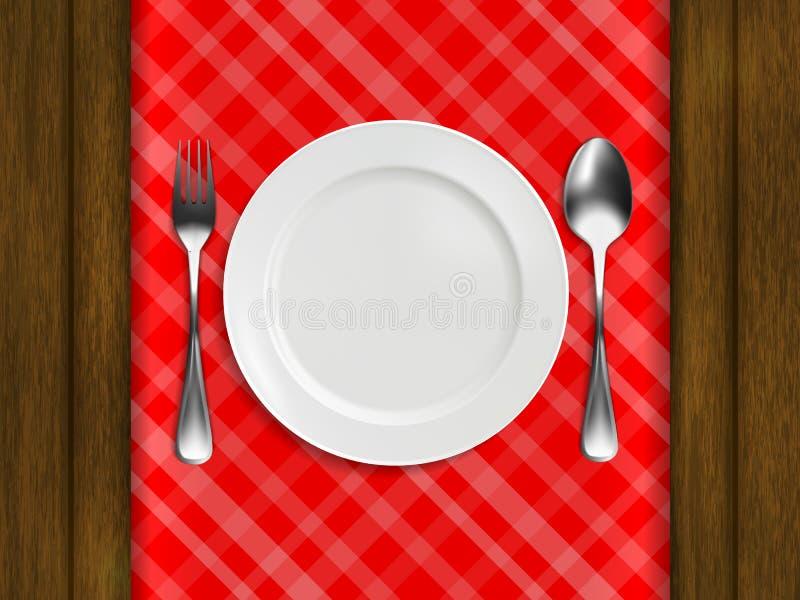 Platte, Gabel, Löffel auf einer roten karierten Tischdecke vektor abbildung