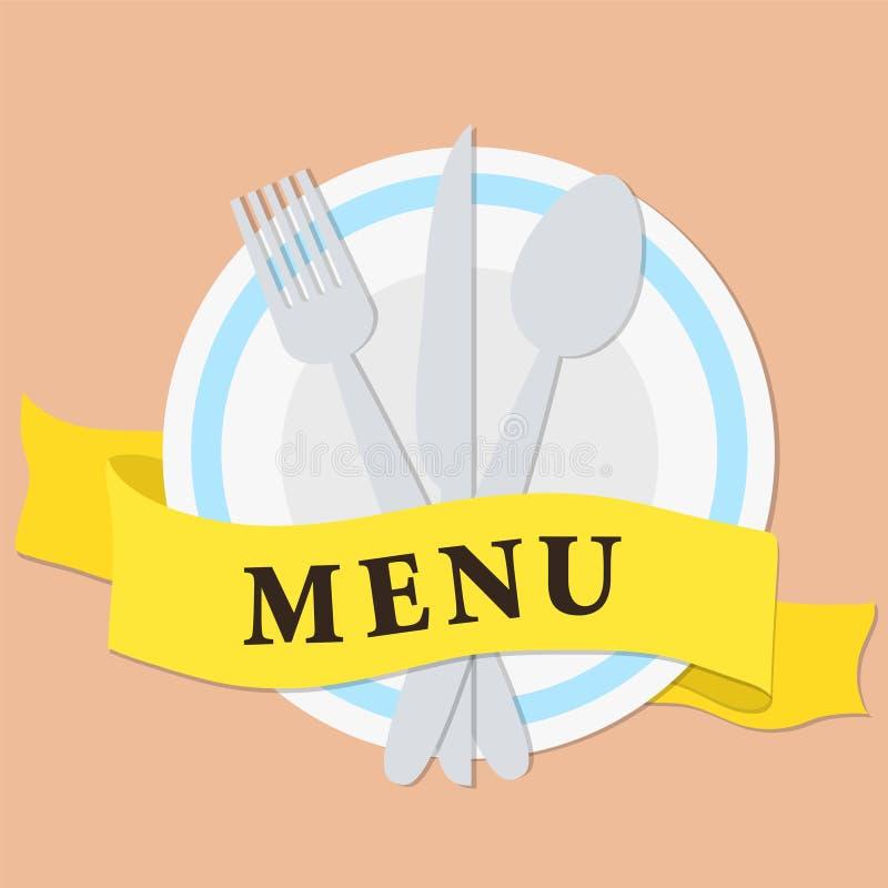 Platte, Gabel und Messer mit gelbem Band und Beschriftungsmenü, sto lizenzfreie abbildung