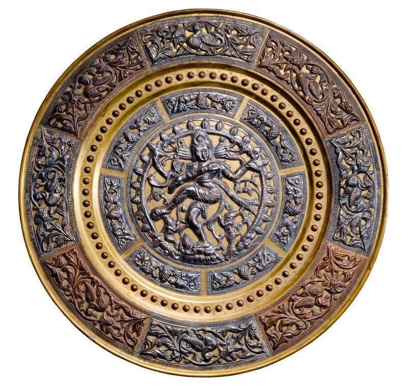 Platte mit dem Bild des Tanzens von Shiva lizenzfreies stockbild