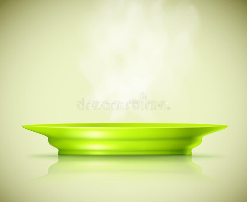 Platte mit einem heißen Teller lizenzfreie abbildung