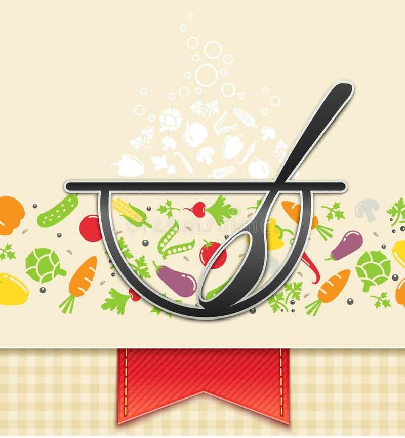 Platte mit Gemüse, Nahrungsmittelhintergrund vektor abbildung