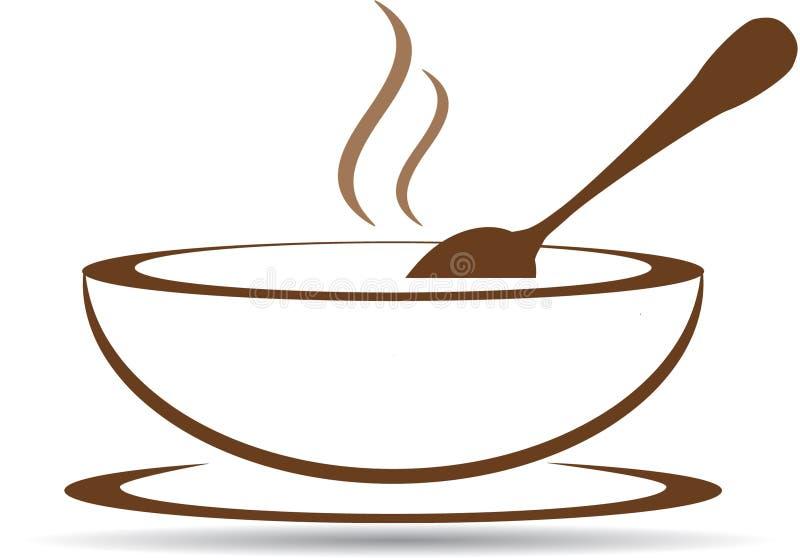 Platte mit heißer Suppe im Vektor lizenzfreie abbildung