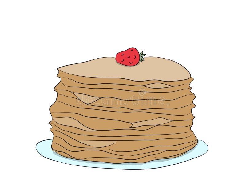 Platte mit Pfannkuchen, Vektor stock abbildung
