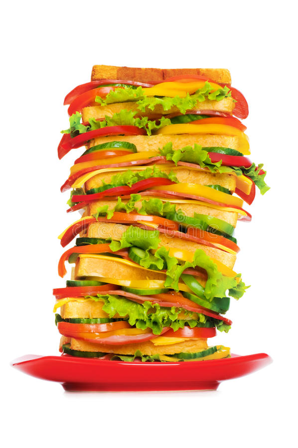 Platte mit riesigem Sandwich stockbild