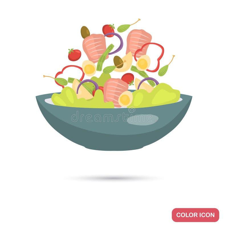 Platte mit Salatfarbflacher Ikone vektor abbildung