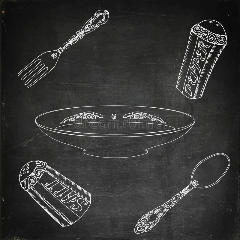 Platte mit Tischbesteck, Salz und Pfeffer vektor abbildung
