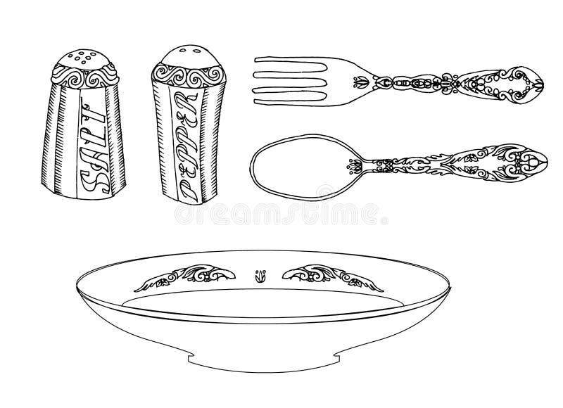 Platte mit Tischbesteck, Salz und Pfeffer stock abbildung