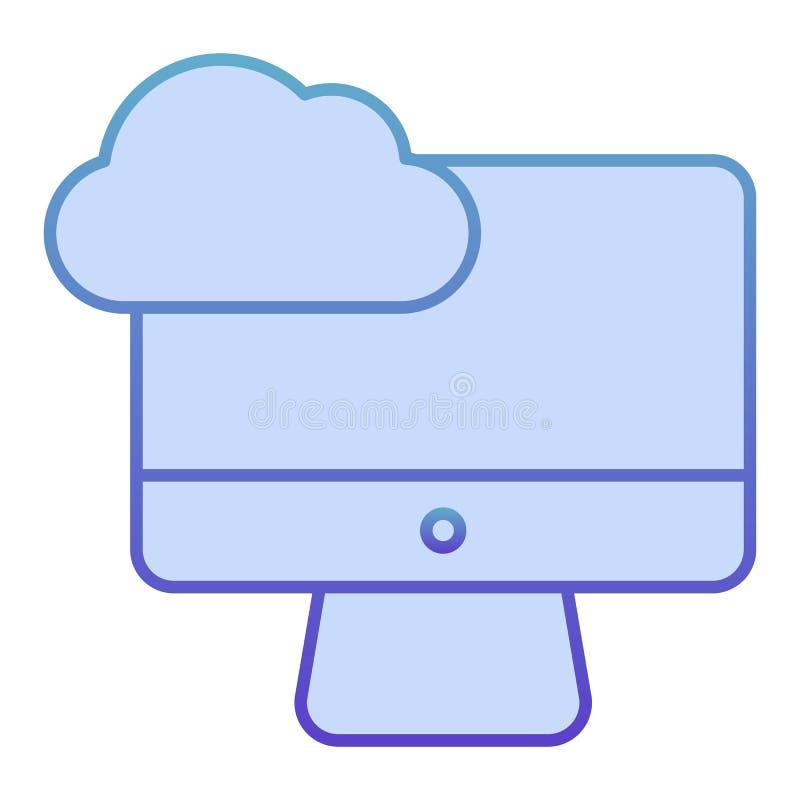 Platte pictogram voor cloud computing op desktopniveau Cloud op pc blauwe pictogrammen synchroniseren in trendy platte stijl Gege stock illustratie