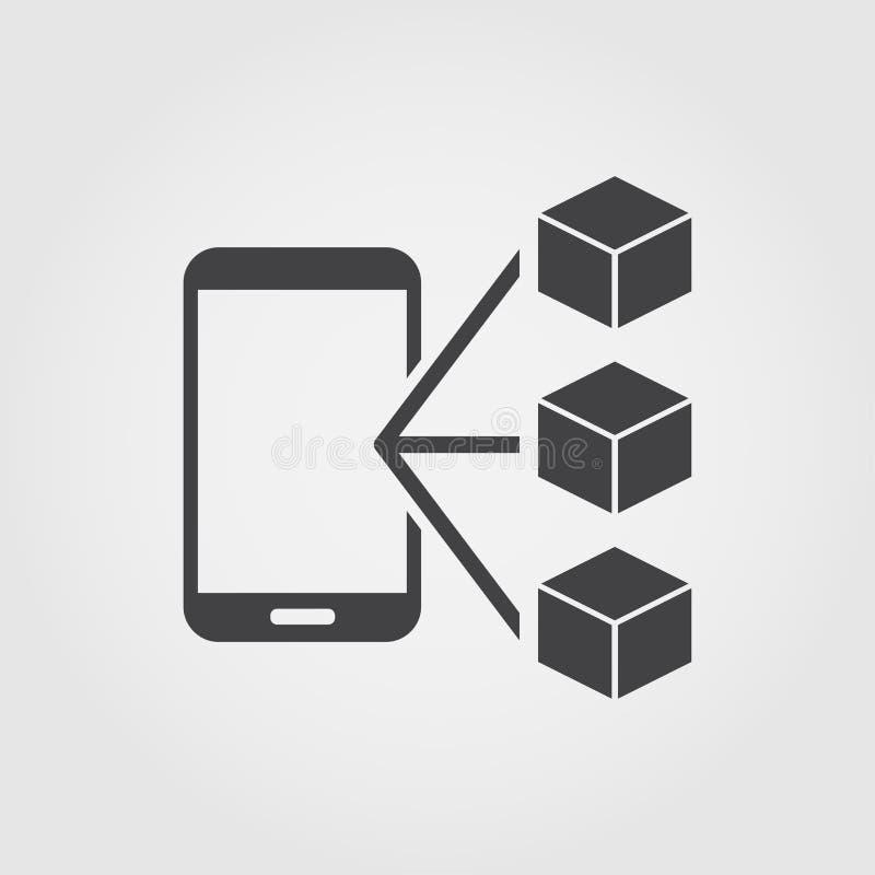 Platte pictogrammen voor toepassingen met blokkenketen Monochroom creatief ontwerp van blockchain icons collectie Sipmle sign ill royalty-vrije illustratie