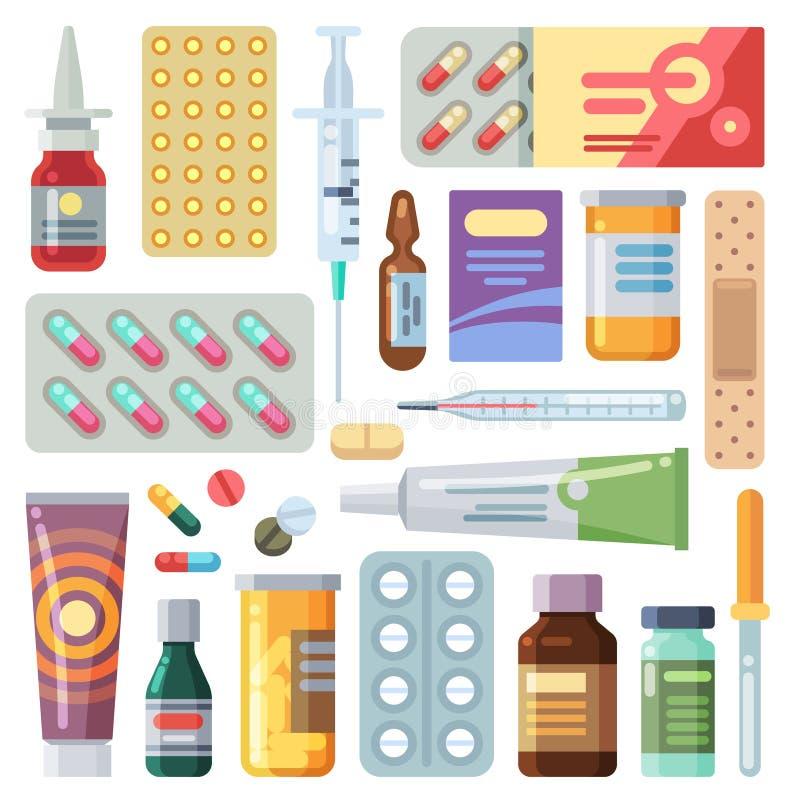 Platte pillen Geneesmiddelen, tabletten en antibiotica Medicatiedosis, vitamine capsules, vectorset stock illustratie