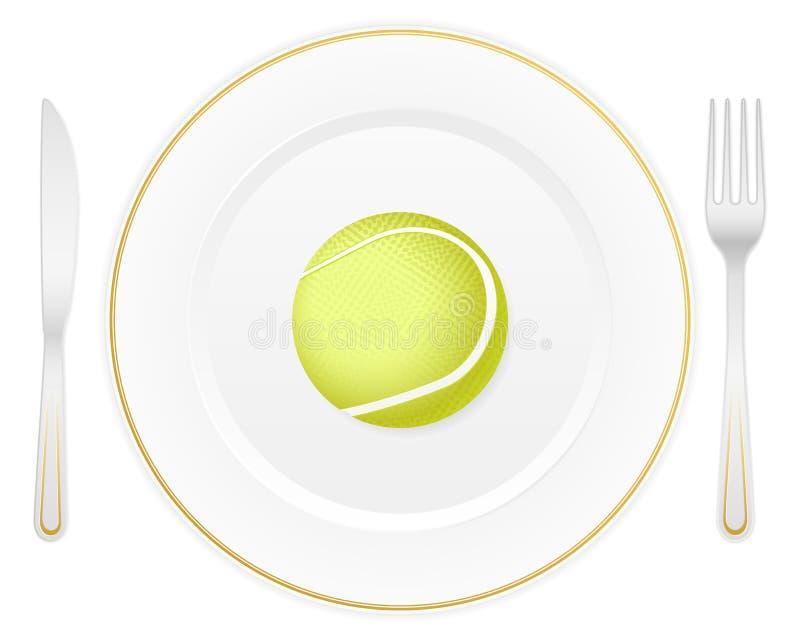 Platte und Tenniskugel stock abbildung