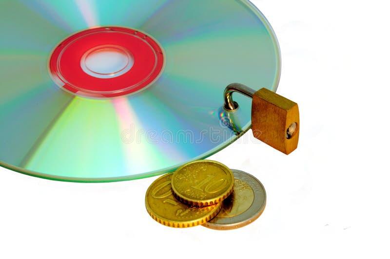 Platte unter Verschluss und Geld lizenzfreie stockbilder