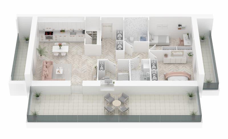 Plattegrond van een huis hoogste mening Open concept het leven flatlay-out stock illustratie